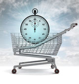 Shoping cart with blue stopwatch and sky flare — Stockfoto