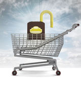 Shoping cart with opened padlock and sky flare — Stock Photo