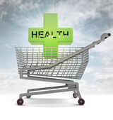 Shoping cart with health cross and sky flare — Stock Photo