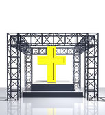 Isolated show stage with golden cross — Stock Photo