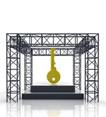 Isolated show stage with golden key — Stock Photo