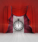 Kronometre ve flare ile kırmızı perde sahne — Stok fotoğraf