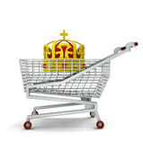 Customer royal buy in shopping cart isolated — Stock Photo