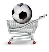 Bought new ball in shopping cart isolated — Stock Photo