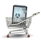Bought wealth in shopping cart isolated — Stock Photo