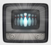 Ninepins in retro television and flare — Stock Photo