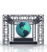 Isolated show stage with america on globe — Stock Photo