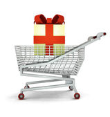 Bought of gift cake in shopping cart isolated — Stock Photo