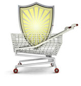 Shield customer protection in shopping cart isolated — Stock Photo