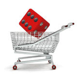Customer lucky buy in shopping cart isolated — Stock Photo
