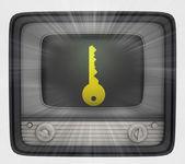 Gouden sleutel in retro televisie en flare — Stockfoto