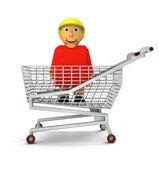 Žena číslo jako nákupy zákazníka, samostatný — Stock fotografie