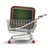 Bought television in shopping cart isolated — Stock Photo