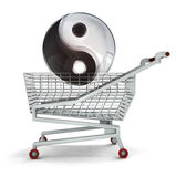 Harmony buying in shopping cart isolated — Stock Photo