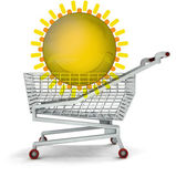 Bought holiday trip in shopping cart isolated — Stock Photo