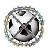 Isolated protected ball in barbed sphere fence — Stock Photo