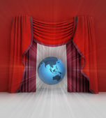 Red curtain scene with asia on globe and flare — Stockfoto