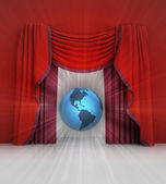 Red curtain scene with america on globe and flare — Stockfoto
