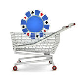 Bought of poker chip in shopping cart isolated — Stock Photo