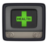 Islated health cross in retro television — Stock Photo