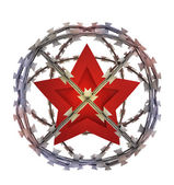 Isolated socialistic star in barbed sphere prison — Stock Photo