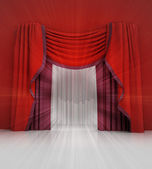 Beyaz ışık parlama ile kapalı kırmızı perde sahne — Stok fotoğraf