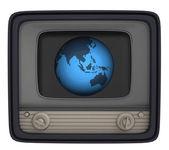 Isolated retro television with asia globe — Stock Photo