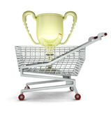 Trade business champion, cup in shopping cart isolated — Stock Photo