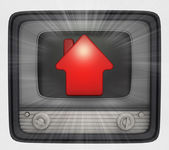 Red house property in retro television and flare — Stock Photo