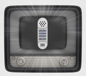 Shiny hand phone in retro television and flare — Stock Photo