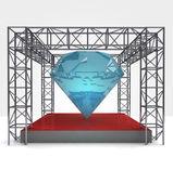 Esposizione di diamante sotto la costruzione della struttura d'acciaio — Foto Stock
