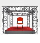 Výstava židle pod ocelové příhradové konstrukce — Stock fotografie
