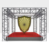 Säkerhet utställning under stål ramkonstruktion — Stockfoto