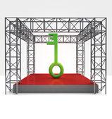 Green key to build steel framework construction — Stockfoto