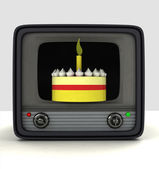 Celebration of TV channel anniversary advertisement — Stock Photo