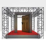 Doorway to exhibition under steel framework construction — Stock Photo