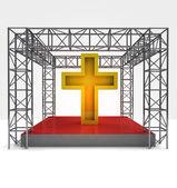 Religion festival under steel framework construction — Stock Photo