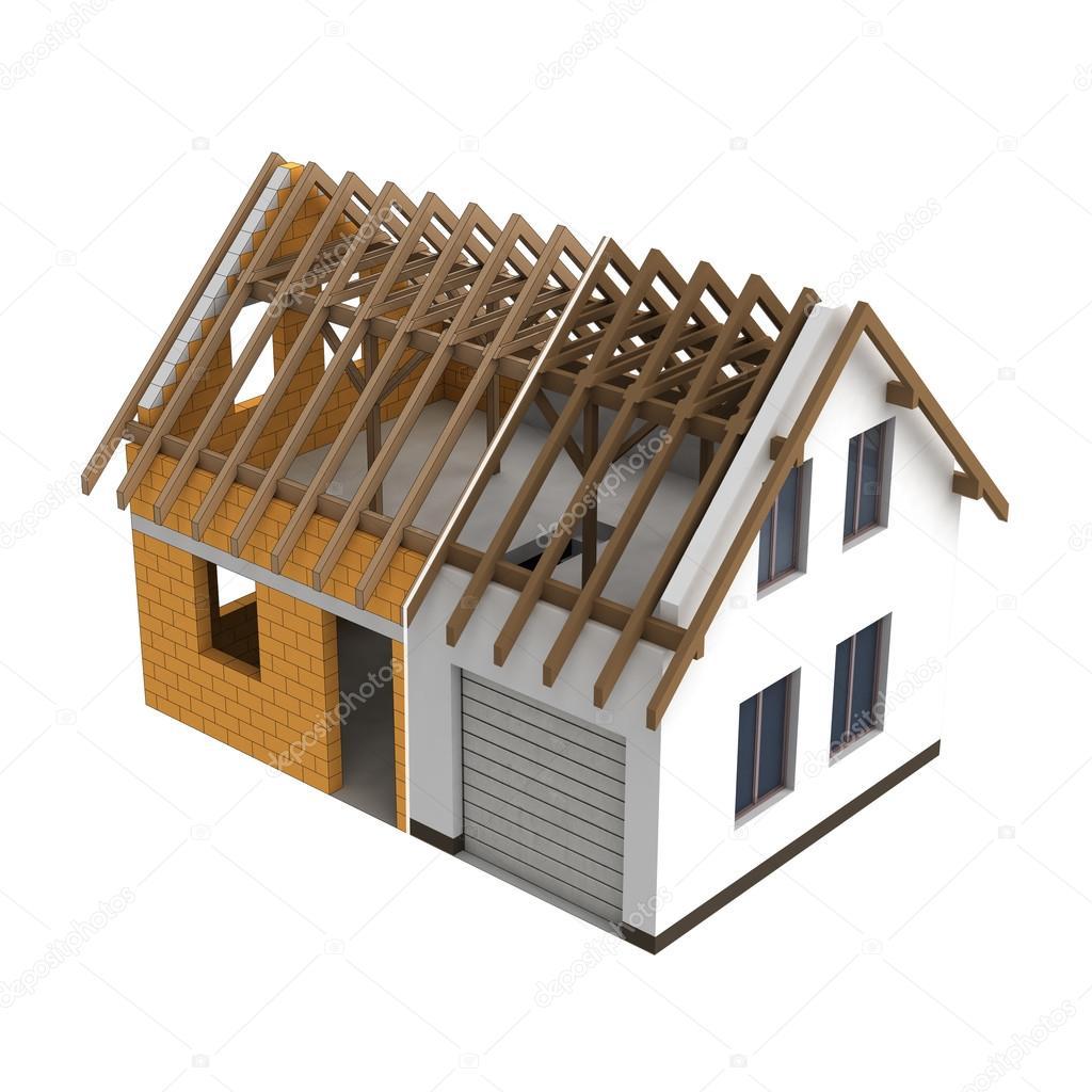 Houten constructie huis ontwerp overgang stockfoto 31901535 - Object design eigentijds ontwerp ...