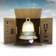 Stock Photo: Golden holiday bell product delivery with sky flare