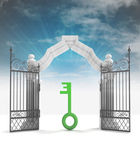 Divine key way to heavenly gate with sky flare — Stock Photo