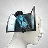 Tijd teller coming out of in menselijk hoofd via venster concept — Stockfoto