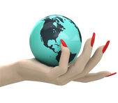 Isolated globe with north America in women hand render — Stock Photo