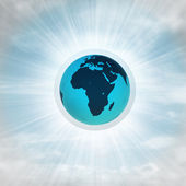 Africa earth globe in glossy bubble in the air with flare — Zdjęcie stockowe