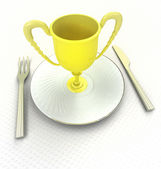 Meal of champions concept trophy on the plate render — Stock Photo