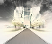 Visualization of new road to the city of future in motion blur — Stock Photo