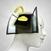 Open veiligheid hangslot afkomstig is uit of in menselijk hoofd via venster concept — Stockfoto