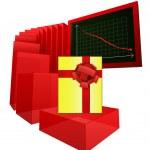 Decreasing level of gift shopping analysis vector — Stock Vector #33599113