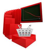 否定的なビジネスの販売または購入する結果のベクトル — ストックベクタ