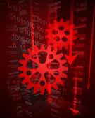 Negative decreasing statistics in machinery industry vector — Stock Vector