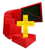 Decreasing graph of religion believers vector — Stock Vector